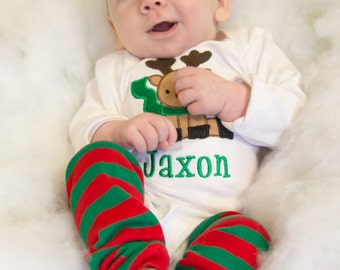 Personalized Chirstmas Outfit - Reindeer Shirt and Legwarmers - One Piece Bodysuit or T Shirt