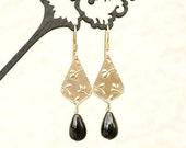 As Seen On Bones , Worn by Dr Brennan , Onyx Earrings , Golden earrings , Teardrop earrings , Lightweight earrings, Metal clay earrings