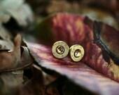 Bullet Earrings Brass and Topaz