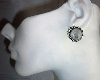 Metal Backed Diamond Dove Post Earrings