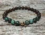 Golden Bronzite Beads African Turquoise with 14kt Gold Filled Bead Sterling Silver Bali Spacers Mens Bracelet