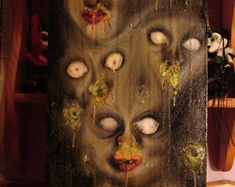 HORROR - Original Oil Painting - NIGHTMARE - Faces - Creepy - Mixed Media - 3D