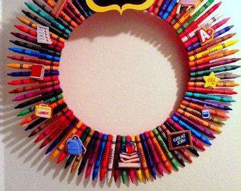 Teacher's Wreath, Crayon Wreath , #1 Teacher, Gift For Teacher, Door/Wall Wreath