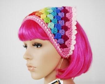 Bohemian Crocheted Kerchief- Hair Accessories - Boho- Bandana- Crochet- Women Accessories-Rainbow-Pride-headband-Hairpiece-Harajuku-festival