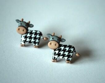 Bull Earrings -- Bull Studs, Cow Earrings, Cow jewelry