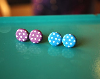 Polka dot studs -- Polkadot earrings, Polka dot earrings
