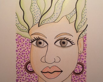 """Funky Face Portrait, Original Painting  6/4"""" Illustration, Signed by Artist, Pencil & Ink COLORFUL, SALE"""