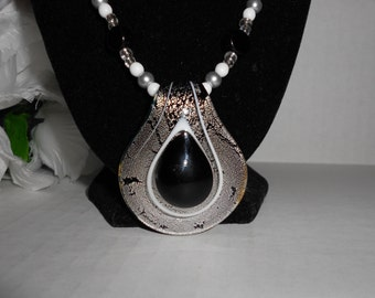 Black Glass Teardrop Necklace