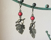 Grape Leaf Earrings - Dark Pink and Antique Gold Colored Earrings