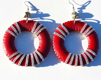 NINA // Red Leather Hoop Earrings/ Silver Chain Hoops/ Fall Earrings/ Large Hoops/ Statement Earrings/ Fashion Earrings/ Gift for Her