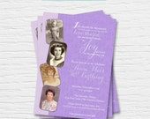 Women's Birthday Invitation - 5x7 - 40th, 50th, 60th, 70th, 80th - Photo Card - Damask - Feminine -  Digital Printable File - Cardstock