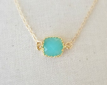 Aqua CZ Crystal Necklace, 14k Gold Filled Chain, Gold Filled Necklace, Blue Crystal Necklace, Birthday Gift, Dainty Necklace