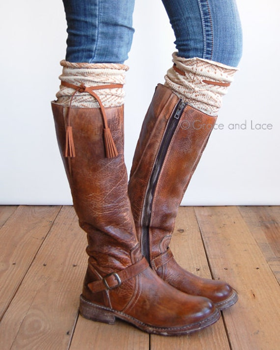 tahoe tassel boot socks grey waffle knit by