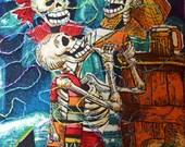 Halloween/Dia De La Merta/Day of the Dead Quilted Postcard