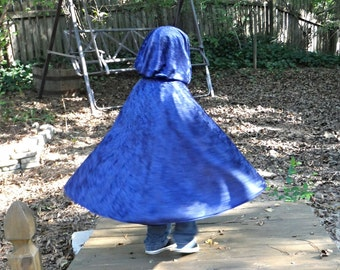 "Navy Blue Fancy Hooded Cape Cloak 27"" Merida Raven Robin Hood Prince Charming Magician Hobbit Wizard Cosplay Once Upon a Time"