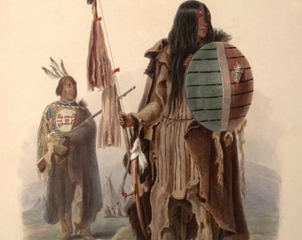 Karl Bodmer Reproduction: Assiniboin Indians, c. 1832. Fine Art Print.