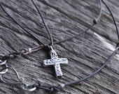 Small Cross Necklace. Hammered Rustic Cross Pendant. Weathered Black Leather Cord Necklace. Metal Clay Jewelry.