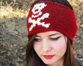 Hand Knit Skull Headband Red Ear Warmer by EmofoFashion and NEW Colors too Women Headband, Hair cover, Skull Ear Warmer, Accessory, Skull