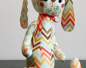 Hippy-Hop the Bunny Rabbit Stuffed Animal, Softie, Plushie. Green, Orange, Teal, Red, Yellow on Cream. Makes a Great Gift and is Baby Safe.