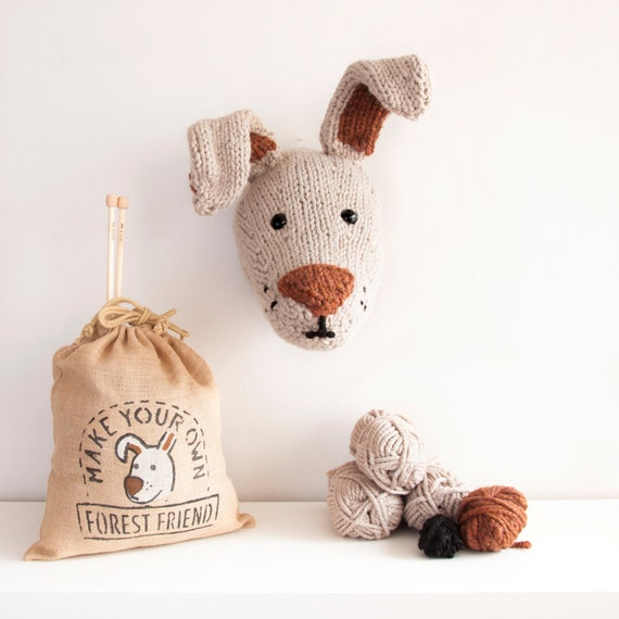 Faux Hare Knitting Kit - Make Your Own Forest Friend - Taxidermy Trophy Head Pattern