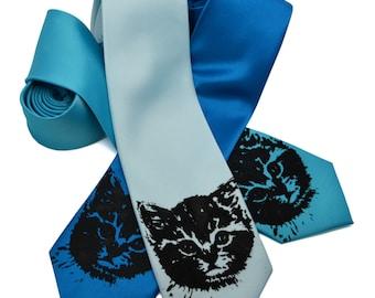 Cat Tie silkscreen neckties. Microfiber screen printed kitten tie