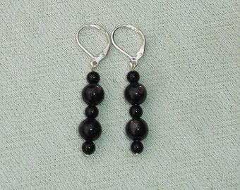 Simple Black Onyx Gemstone Dangle Earrings with Leverbacks