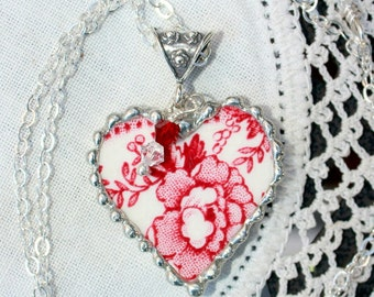 Necklace, Broken China Jewelry, Broken China Necklace, Heart Pendant, Red Transferware, Sterling Silver