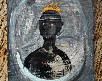 Head on Fire original miniature acrylic painting