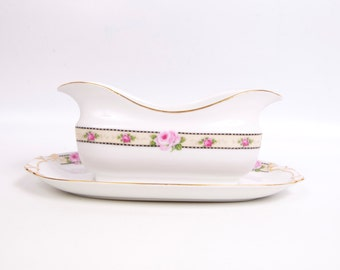 Antique EPIAG AICH Czechoslovakia Gravy Boat Attached Underplate Pink Roses Rare Czech China 22kt Gold Trim