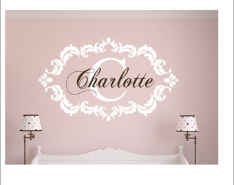 Fancy Damask Wall Decal Vinyl Wall Decal Personalized Nursery Decal Bedroom Wall Decal Damask Frame Initial Name Monogram Wall Decal 22x35