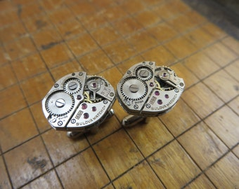 Bulova 6AH Watch Movement Cufflinks. Great for Fathers Day, Anniversary, Groomsmen or Just Because.  #263