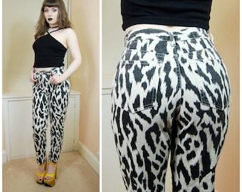 SALE 90s Grunge Clubkid Zoolander Black White Animal Print High Waist Skinny Denim Jeans Cigarette Pants S