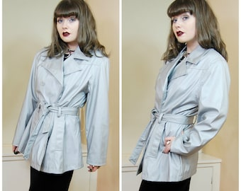 90s Clubkid Cyber Goth Grey Silver Shiny Sheen Belted Mac Jacket Millenium Button Up Pea Coat Jacket M / L