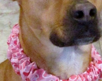 Dog Collar Cover ~ Pink Hearts Dog collar ~ Valentines Day ~ Wedding ~ Spring ~ Dog Scrunchie ~  Medium to X-large