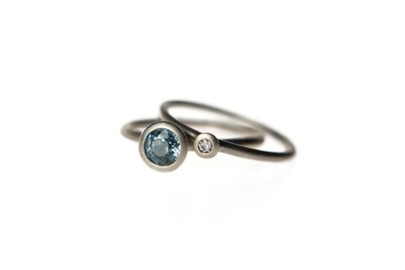 Color change sapphire diamond engagement ring set 14k