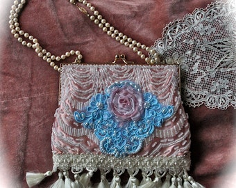 Izzy Roo Romantic Marie Antoinette Clutch Beaded Purse Ribbon Roses Tassle  Pearls Sweet Pink Aqua White