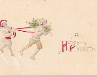 "Ca. 1912 ""Boy & Girl Skating"" Christmas Xmas Greetings Postcard - 1645"