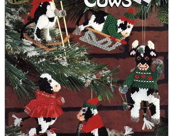 Christmas Cows Plastic Canvas Pattern American school of Needlework 3145