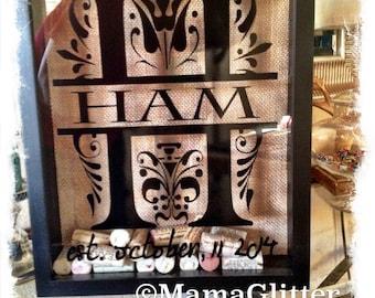 11x14 personalized split letter cork holder wine shadow box wine cork keeper wedding guest book wall cork holder wine cork shadow box