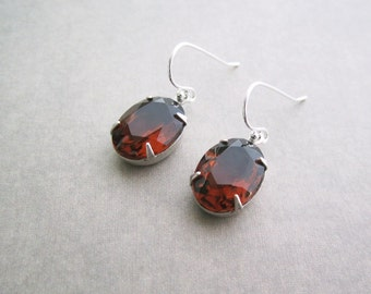 Brown Earrings - Coffee Vintage Glass Jewels - Rhinestone Earrings