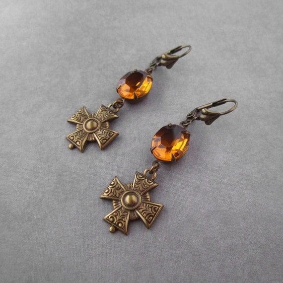 Maltese Cross Earrings - Amber Yellow Rhinestone - Renaissance Military Regal Medal - Brass - Goth Jewelry