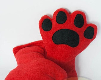 Red Paws, Fleece, Claws, Accessory