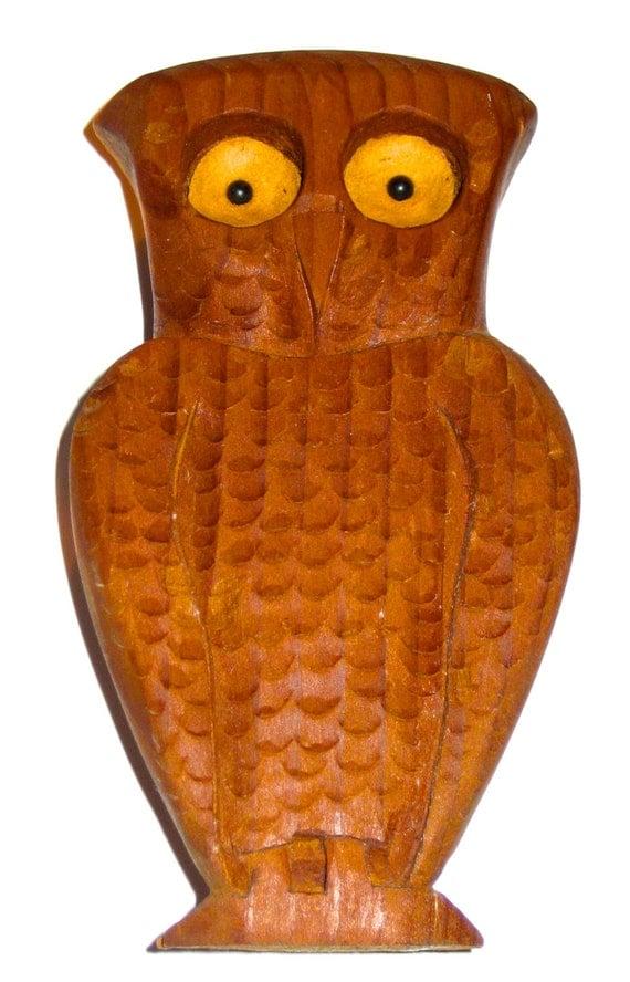 Sale vintage hand carved wood folk art owl sculpture