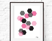 Wall Art - Geometric Hexagon Art Print - Modern Abstract Minimalist Art Print