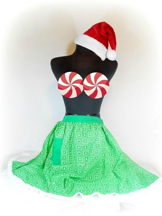 Vintage Green Christmas Apron Retro Holiday Print Hostess Half Apron Kitchen Christmas Party Christmas Gift Handmade Holdiay XMAS Apron