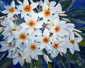 Plumeria Painting White Flower Tropical Art Large Original Watercolor 14x 21 inches by Janet Zeh