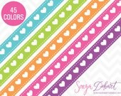 80% OFF SALE Clipart Hearts Ribbon Borders 45 Colors Vector EPS Included Commercial Use