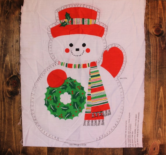 Items Similar To Sale Christmas Snowman Pillow Cutout Fabric Xmas Holiday Home Decor Diy Vintage