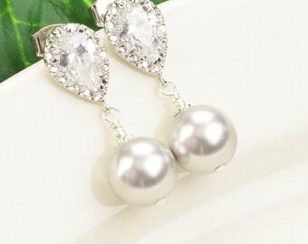 Gray Pearl Earrings - Silver Cubic Zirconia Earrings - Gray Pearl Bridesmaid Earrings - Bridal Jewelry - Swarovski Pearl Bridesmaid Jewelry