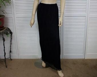 Vintage Black Chiffon Pleated Long Evening Skirt Size Small/Medium